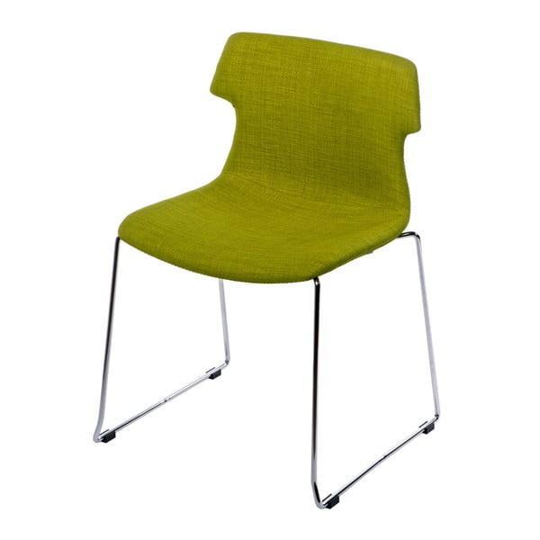 Sada 2 čalouněných zelených židlí D2 Techno
