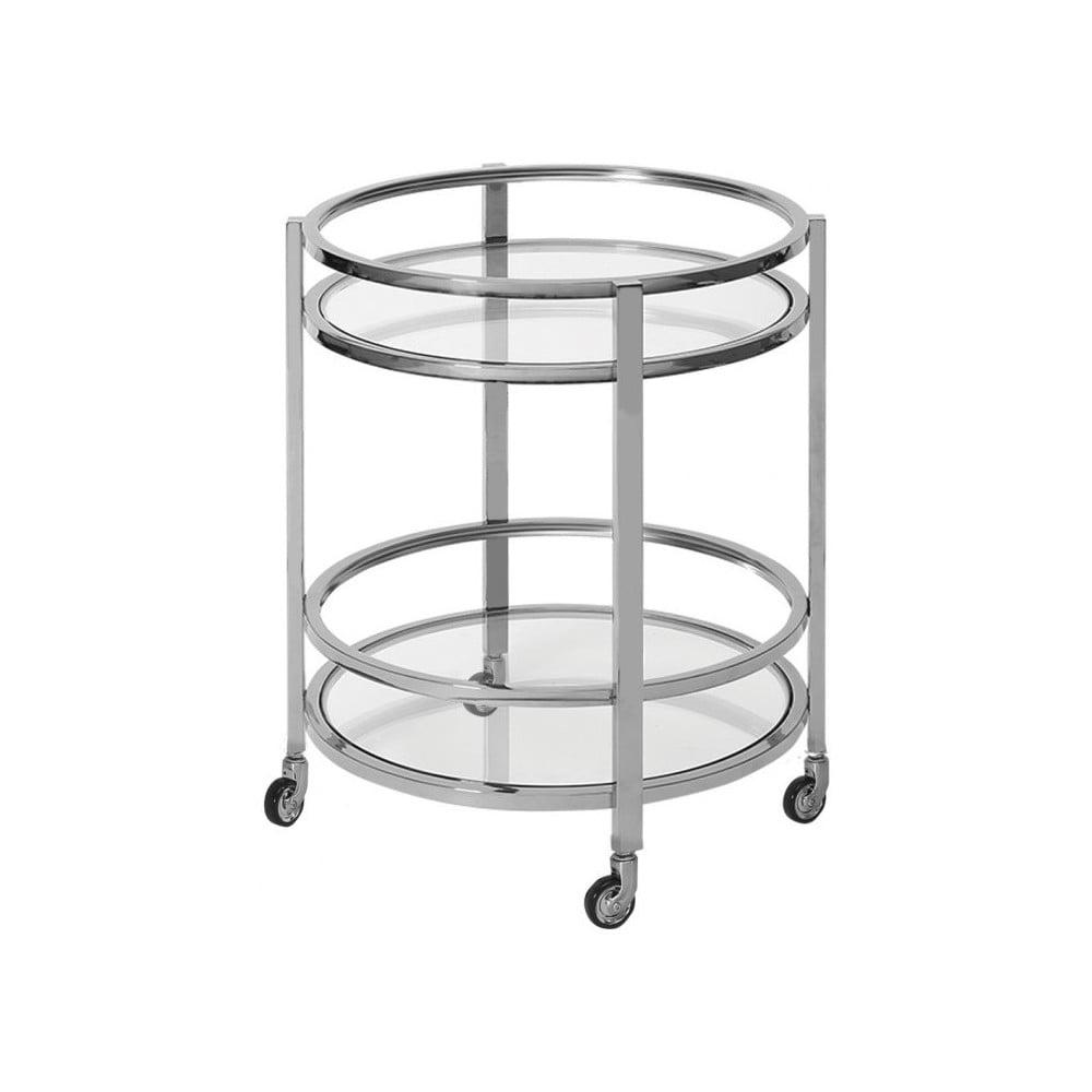 Pojízdný stolek ve stříbrné barvě Artelore Meyer