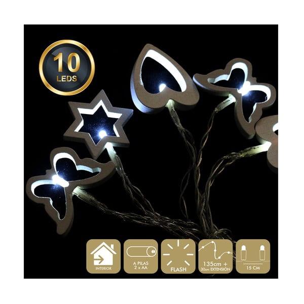 Ghirlandă luminoasă cu 10 becuri LED Unimasa Mix, alb