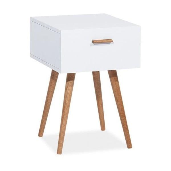 Bílý odkládací stolek s úložným prostorem Signal Milan, 42x40cm