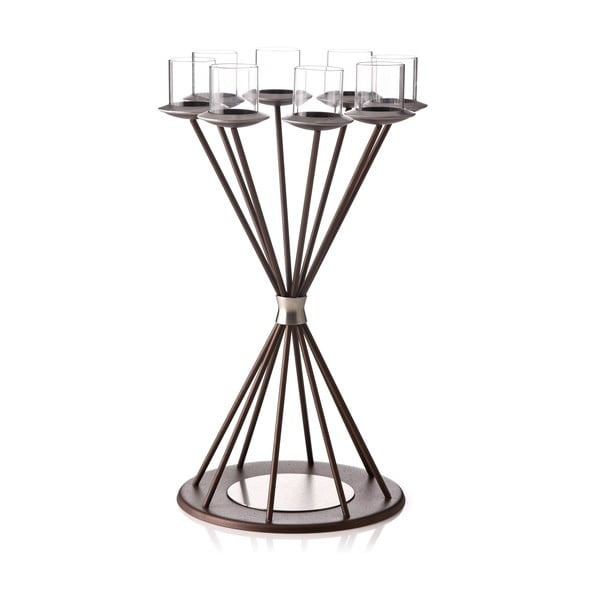 Svícen Majestic Glimmer Brown na 8 svíček
