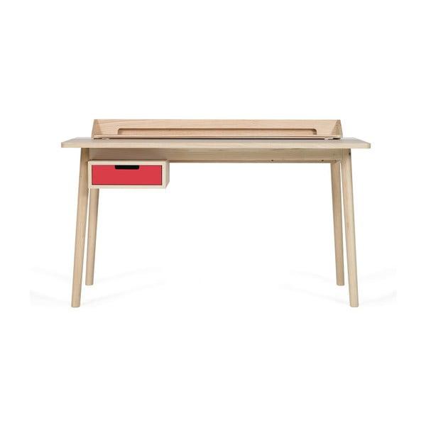 Pracovný stôl z dubového dreva s červenou zásuvkou HARTÔ Honoré, 140×70cm