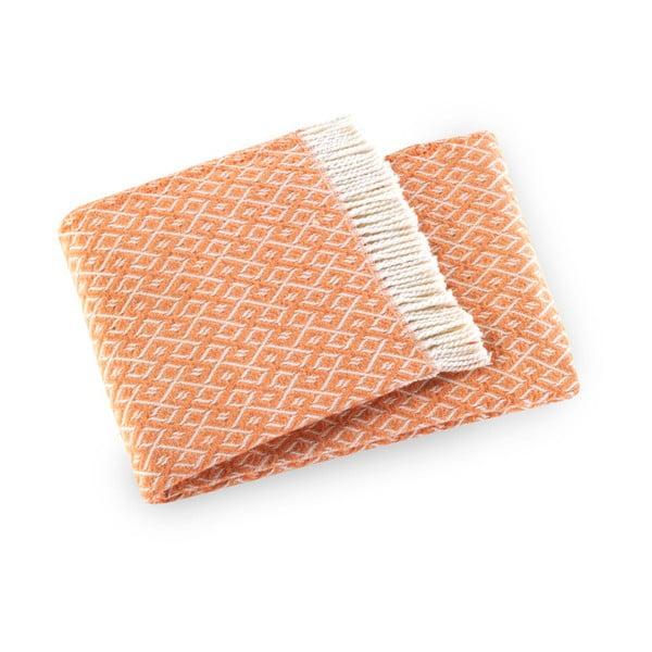 Oranžový pléd s podielom bavlny Euromant Agave, 140×180 cm