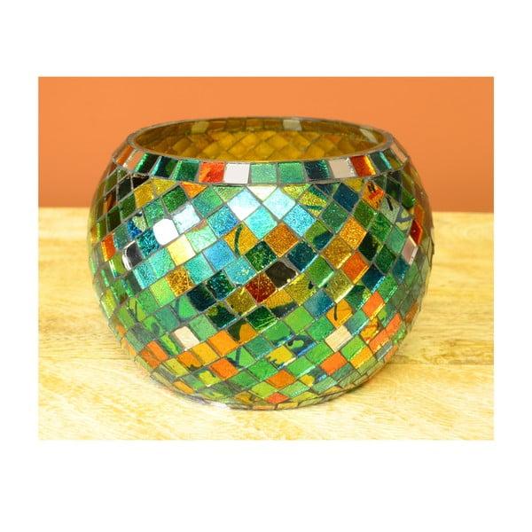 Skleněný svícen Zelená mozaika