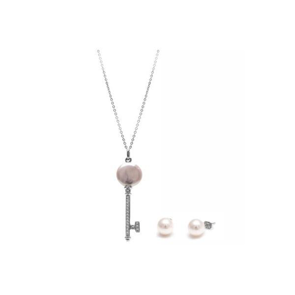 Sada náhrdelníku a náušnic z říčních perel GemSeller Lutea