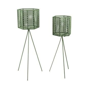 Set 2 suporturi metalice pentru ghiveci PT LIVING Hexagon, verde închis