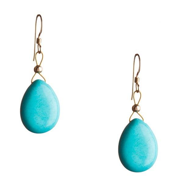 Zlaté náušnice Turquoise (tyrkys)