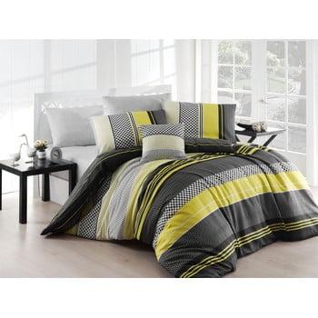 Lenjerie de pat cu cearșaf Zigo Yellow, 200 x 220 cm de la Nazenin Home