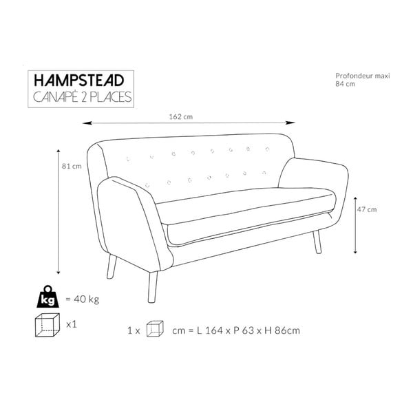 Tyrkysová pohovka pro dva Cosmopolitan design Hampstead