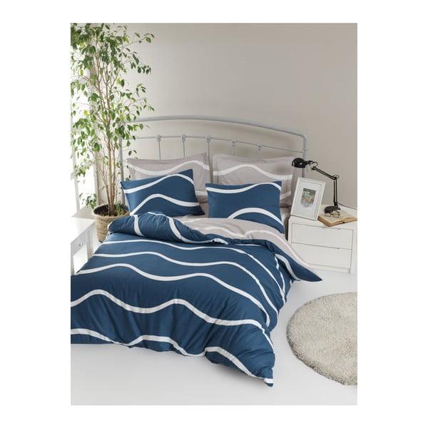 Lenjerie de pat cu cearșaf din bumbac ranforce, pentru pat dublu Mijolnir Novia Blue, 200 x 220 cm