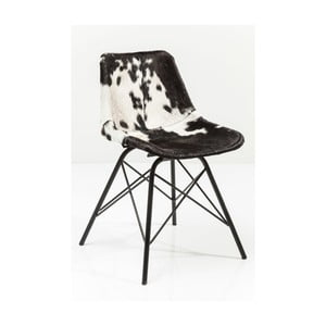 Scaun cu tapițerie din piele Kare Design Haudy. alb-negru