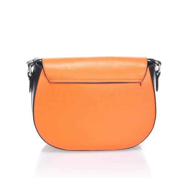 Kožená kabelka Krole Karina, oranžová/černá