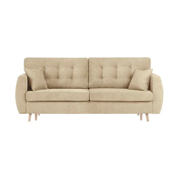 Canapea extensibilă cu 3 locuri și spațiu pentru depozitare Cosmopolitan design Amsterdam, 231x98x95cm, bej
