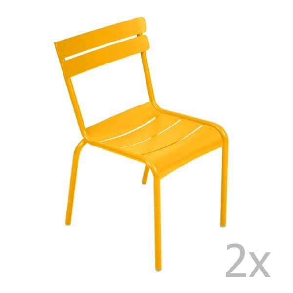 Sada 2 žlutých židlí Fermob Luxembourg
