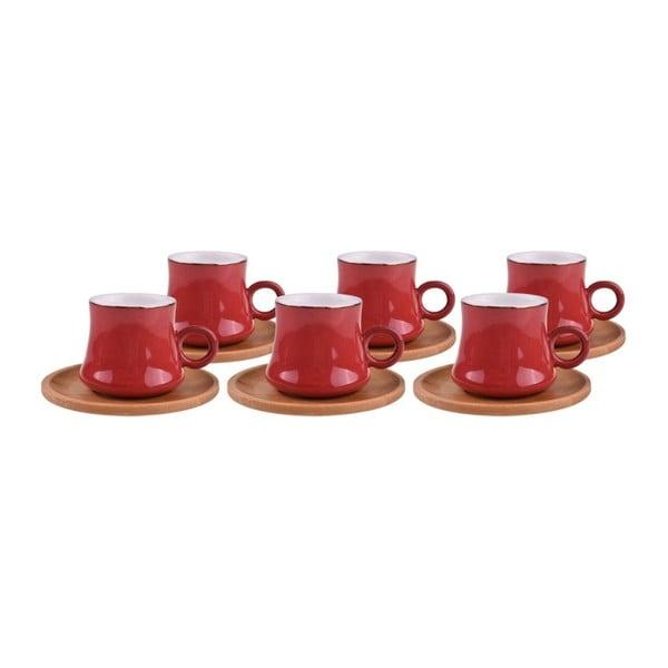 Zestaw 6 czerwonych porcelanowych kubków i podkładek bambusowych Bambum Harem