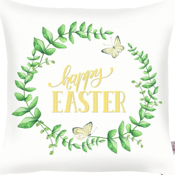 Zeleno-biela obliečka na vankúš Apolena Happy Easter, 43×43cm