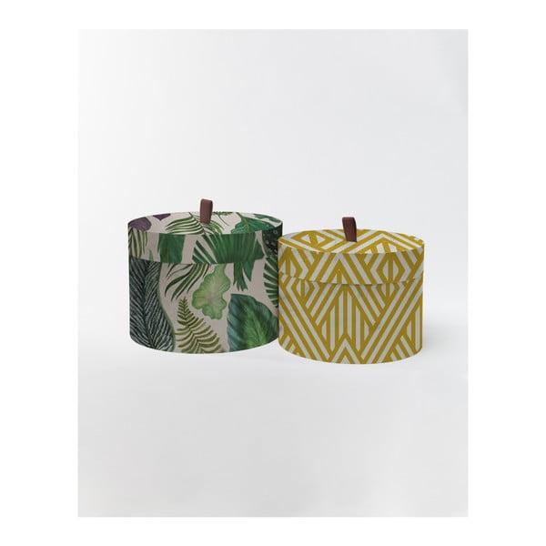 Sada 2 kulatých úložných boxů ze sametu Velvet Atelier Leaves