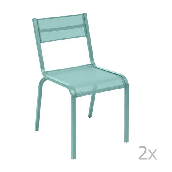 Sada 2 svetlomodrých kovových záhradných stoličiek Fermob Oléron