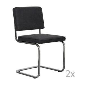 Sada 2 antracitově šedých židlí Zuiver Ridge Rib