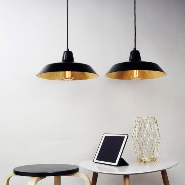 Závěsné svítidlo se 2 černými kabely a stínidly v černé a zlaté barvě Bulb Attack Cinco, ⌀85cm