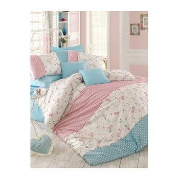 Lenjerie de pat cu cearșaf Emily Turquoise, 200 x 220 cm de la Pearl Home