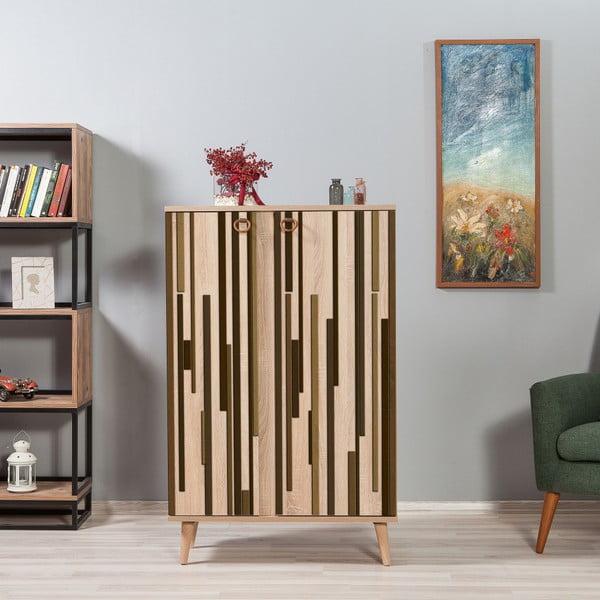 Variabilní dvoudveřová komoda Newbox Green Stripes, 126 x 80 cm