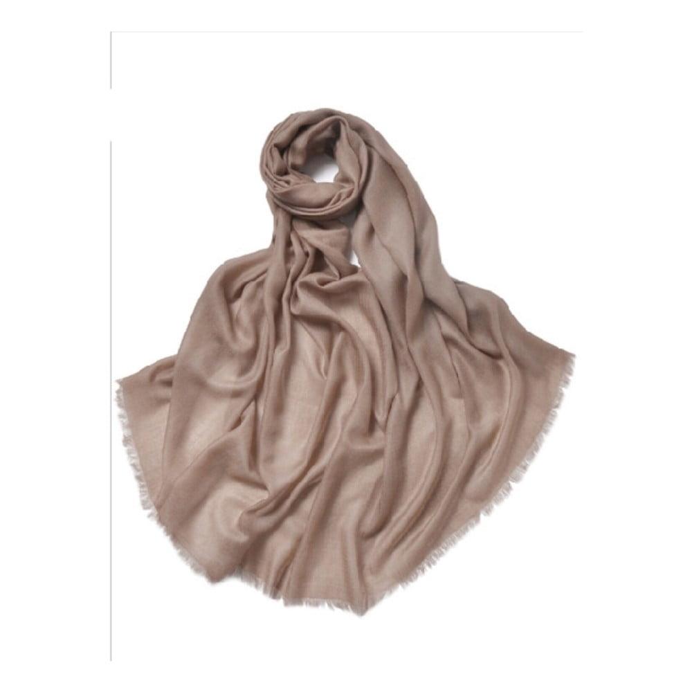 Hnědá tenká kašmírová šála Bel cashmere Clara, 200 x 90 cm
