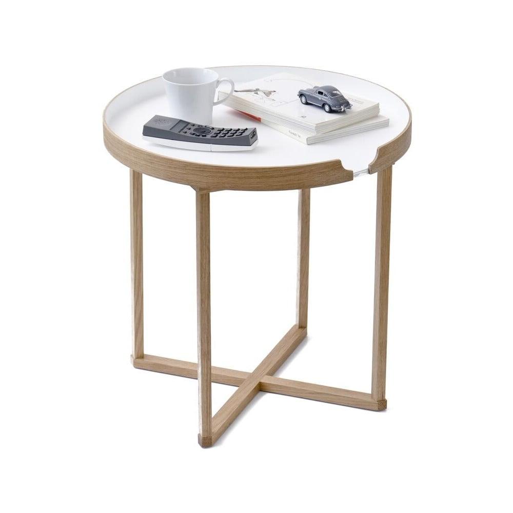 Bílý odkládací stolek z dubového dřeva s odnímatelnou deskou Wireworks Damieh, 45 x 45 cm