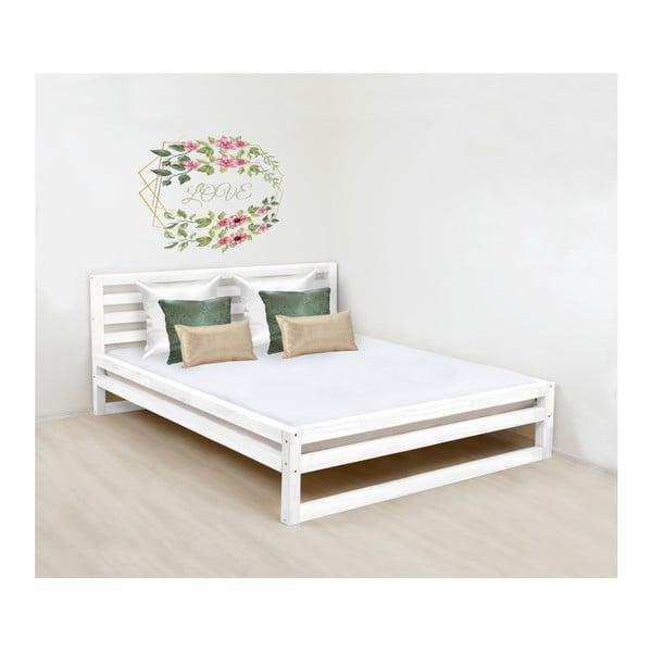 Biela drevená dvojlôžková posteľ Benlemi DeLuxe, 200 × 200 cm