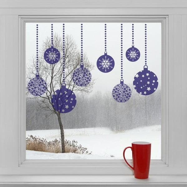 Elektrostatické vánoční samolepky Modré dekorace