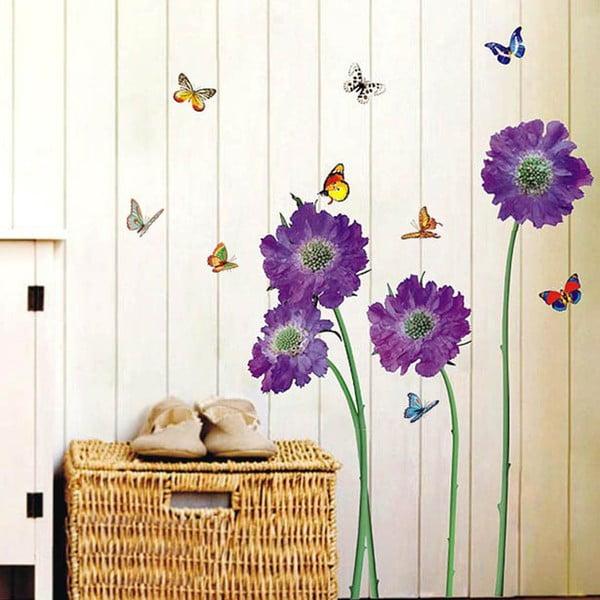 Samolepka na stěnu Fialové květiny