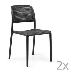 Sada 2 antracitových zahradních židlí Nardi Bora Bistrot