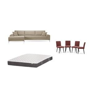 Set šedobéžové pohovky s lenoškou vlevo, 4cihlově červených židlí a matrace 160 x 200 cm Home Essentials