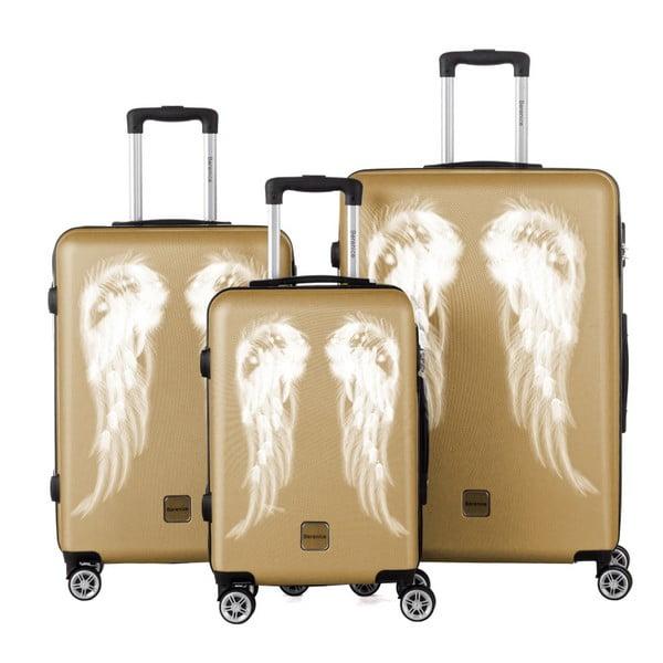 Sada 3 cestovních kufrů ve zlaté barvě Berenice Wings