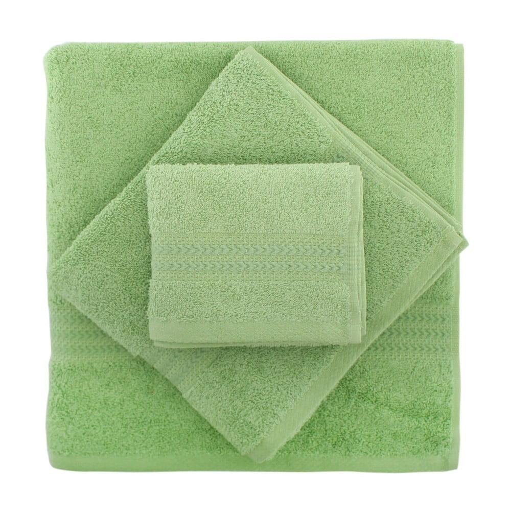 Fotografie Set 3 zelených ručníků a osušky Rainbow