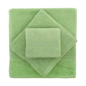 Set 3 zelených ručníků a osušky Rainbow
