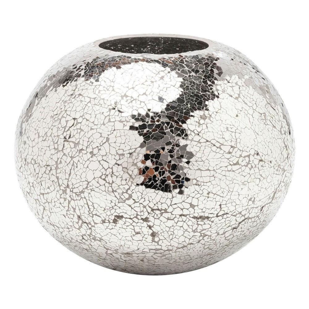 Váza ve stříbrné barvě Kare Design Mosaix Disco, 21 cm