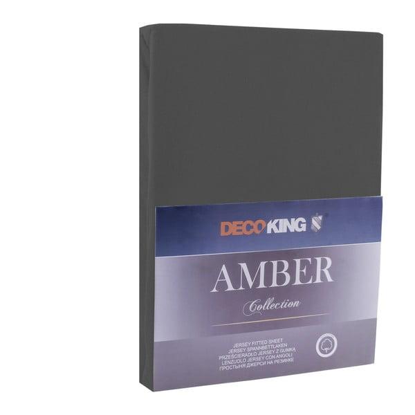 Tmavě šedé prostěradlo DecoKing Amber Collection, 220-240 x 200 cm