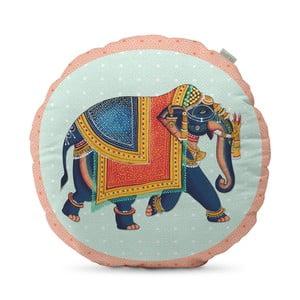 Bavlněný oboustranný polštář HF Living Kandula Blue Elephant, ⌀50cm