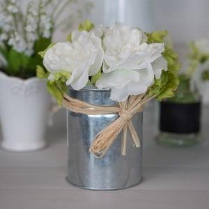 Kovová váza s umělou květinou Rose, 21 cm