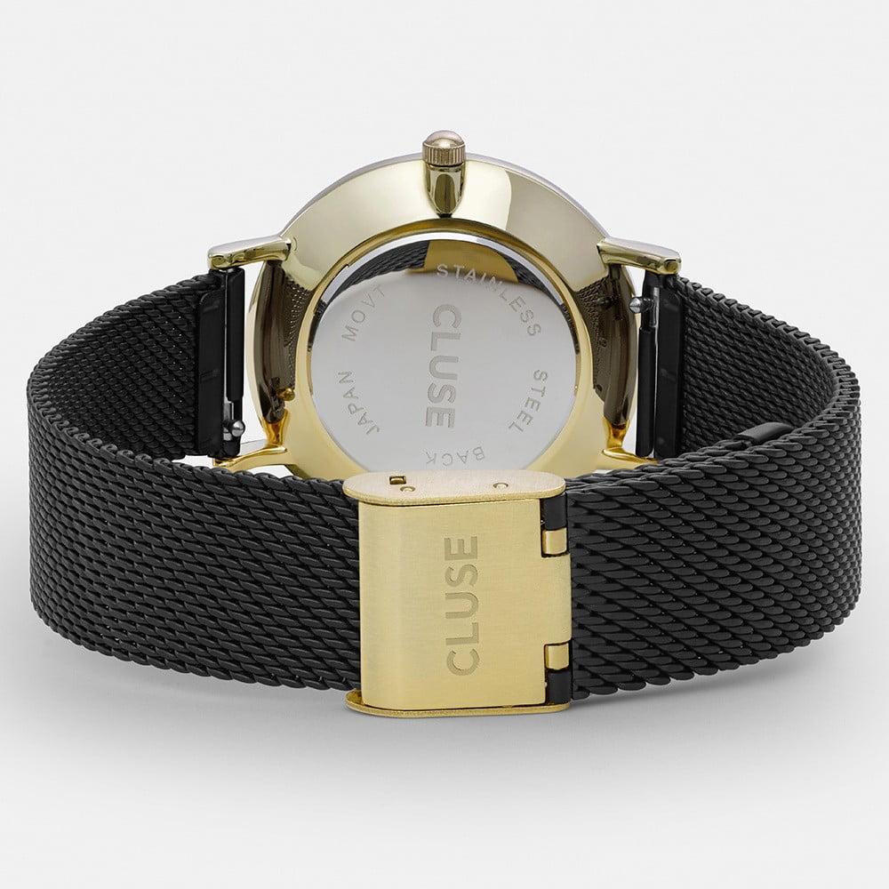... Dámské černé hodinky z nerezové oceli s detaily ve zlaté barvě Cluse  Minuit ... f5428c630a