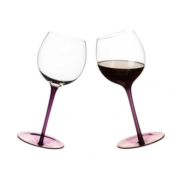 Sklenice na víno s oblým dnem 2 ks, fialové