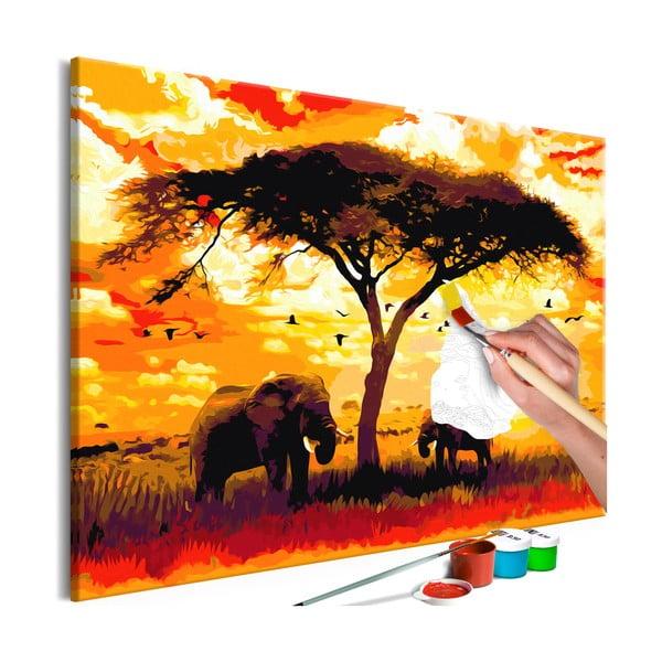 DIY set na tvorbu vlastného obrazu na plátne Artgeist Africa at Sunset, 120×80 cm