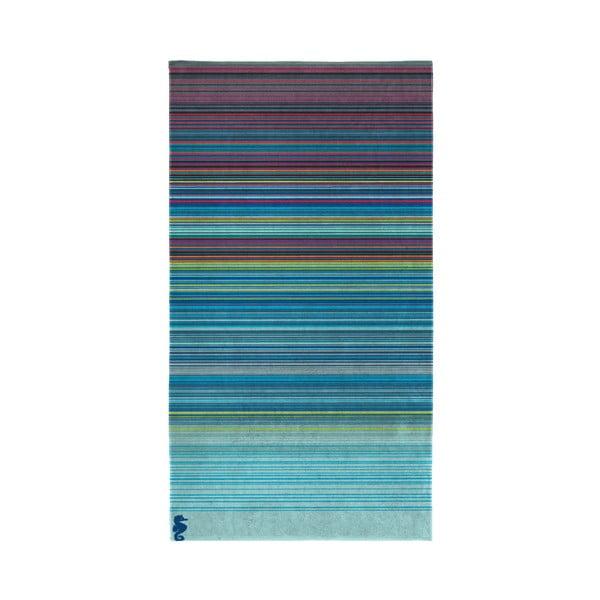 Modrá osuška z organické bavlny Seahorse Sunset,100x200cm