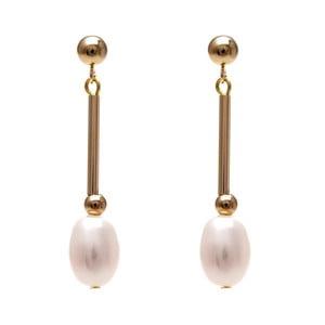 Zlaté náušnice s růžovou perlou GemSeller Albet