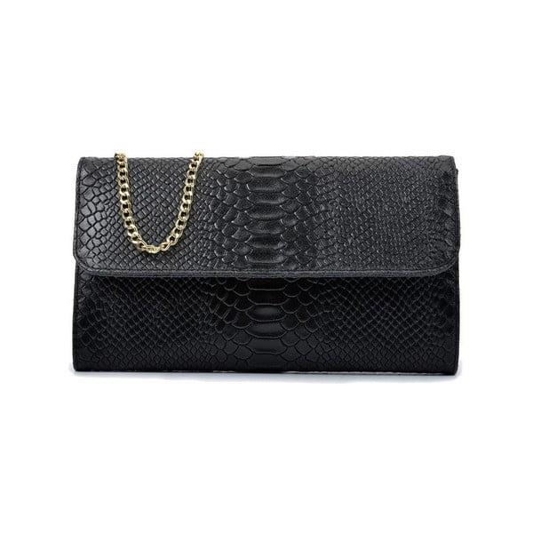 Čierna kožená listová kabelka Isabella Rhea Dilay