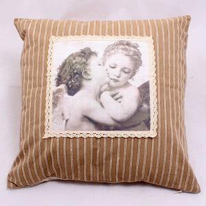 Hnědý povlak na polštář Zamilovaní, 40x40 cm