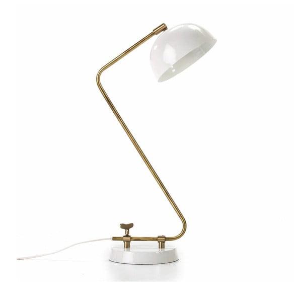 Biała lampa stołowa z konstrukcją w kolorze złota Thai Natura