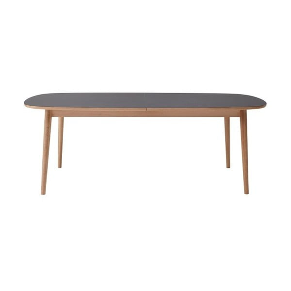 Hnedý rozkladací jedálenský stôl s tmavosivou doskou WOOD AND VISION Bow, 210 × 105 cm
