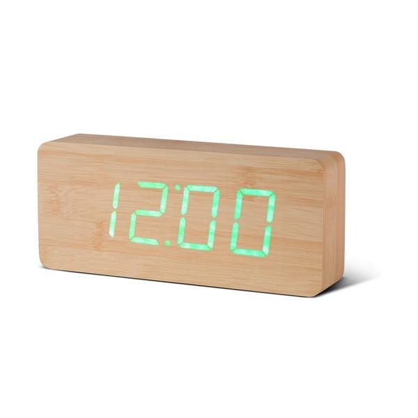 Ceas deșteptător cu LED Gingko Slab Click Clock, maro - verde